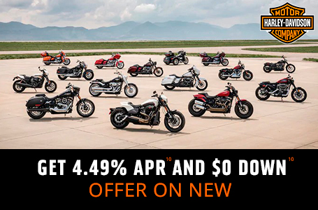 GET 4.49% APR AND $0 DOWN ON NEW MOTORCYCLES