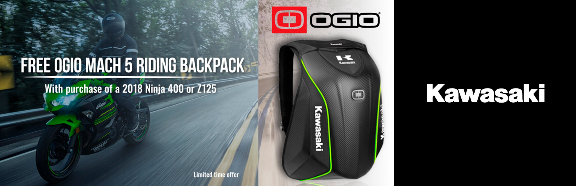 Kawasaki: Free OGIO Mach 5 Riding Backpack