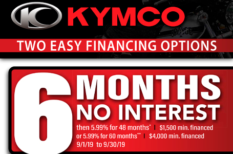 2019 KYMCO Retail Financing Promo – September