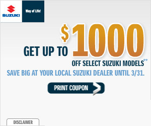 Get up to $1,000 off select Suzuki models. Click here for more info.